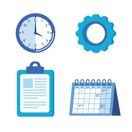set of clock with gear and document in the clipboard with calendar over white background, vector illustration