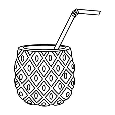 summer fresh fruit pineapple cocktail vector illustration design