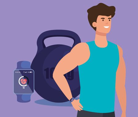 fitness man with smartwatch and weight to sport over purple background, vector illustration