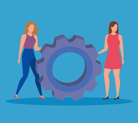 women teamwork with gear office report over blue background, vector illustration