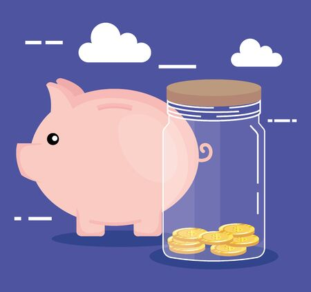 piggy with coins cash money in glass bottle over purple background, vector illustration Çizim