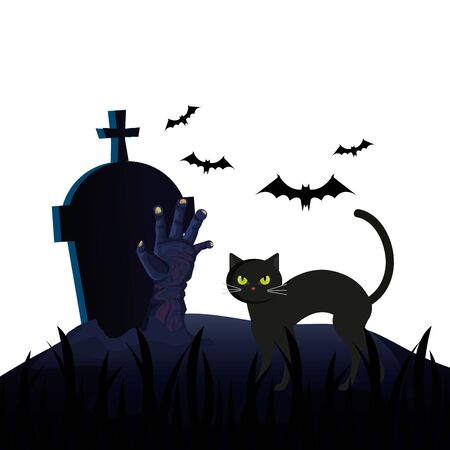 halloween tomb with cat and hand zombie vector illustration design