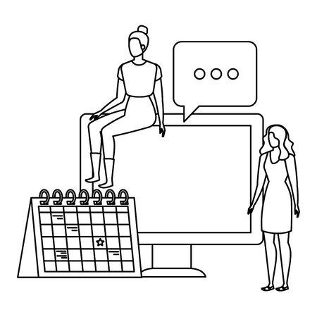 young women with desktop characters vector illustration design Ilustração