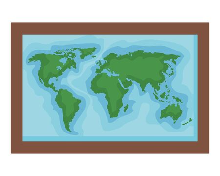 square hanging with world map education icon vector illustration design