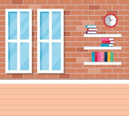 shelf wooden in school classroom vector illustration design