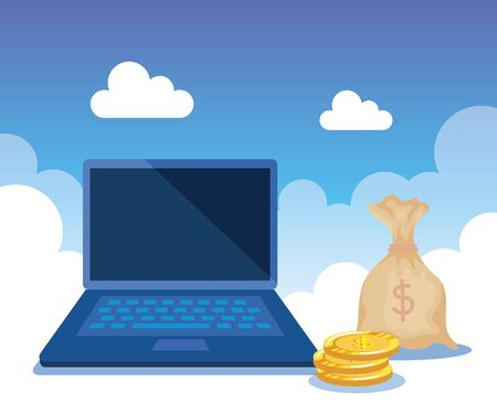 laptop technology with bag and coins money and clouds, vector illustration Çizim
