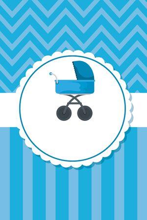 postcard with baby cart transport vector illustration design