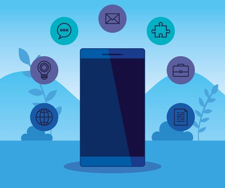 smartphone technology with business icons strategy to teamwork structure, vector illustration Çizim