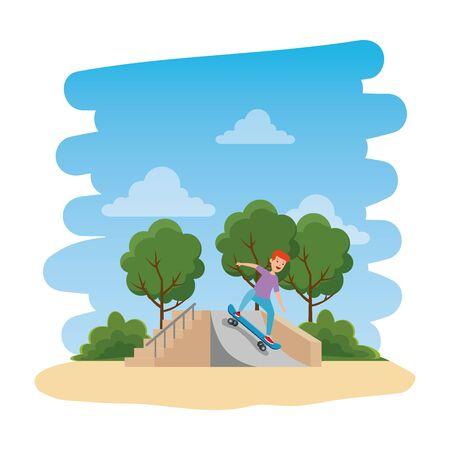 girl in skateboard on the park with ramp vector illustration design