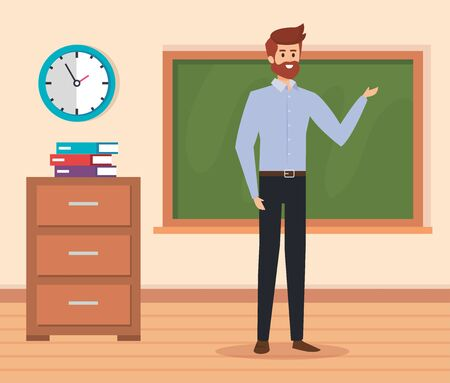 man teacher in the classroom with blackboard and books to academic education vector illustration
