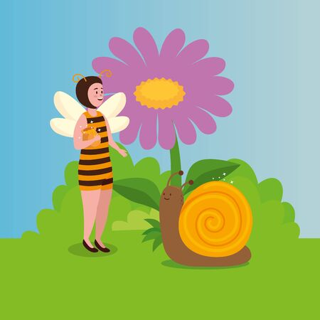 woman disguised bee with snail in scene fairytale vector illustration design