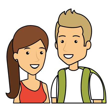 young couple urban style characters vector illustration design Standard-Bild - 133835450