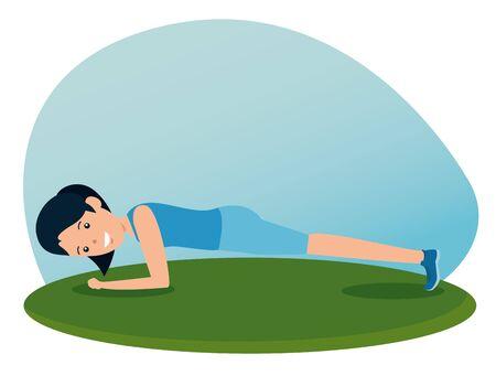 girl training plank fitness activity to summer sport vector illustration