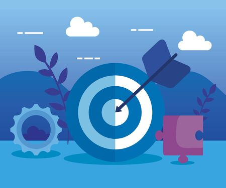 target with arrow and gear with puzzle and plants to business strategy, vector illustration Çizim