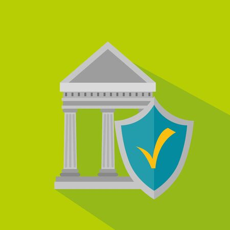 bank strategy finance with shield security over green background, vector illustration
