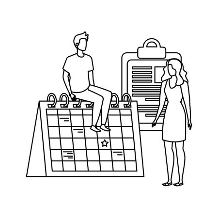 young couple with calendar characters vector illustration design