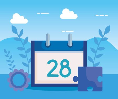 calendar with gear and puzzle with branches plants to business strategy, vector illustration