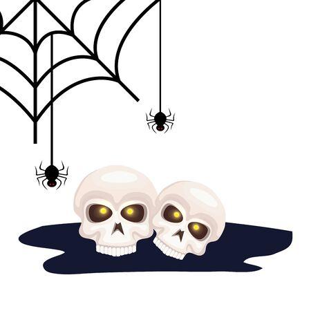 skull dead halloween with spiders vector illustration design