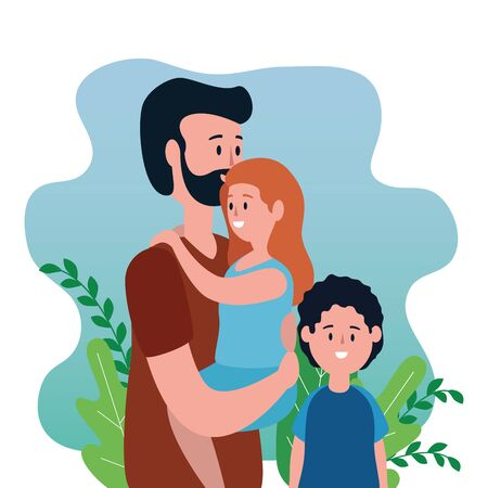 father with daughter and son on the park family characters vector illustration design