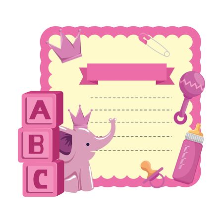baby shower card with blocks and elephant vector illustration design Reklamní fotografie - 133835584