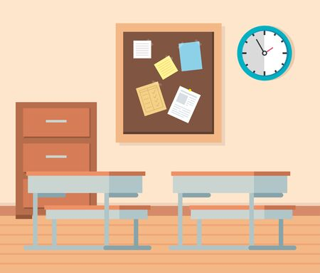academic classroom with desks and note board to school education vector illustration
