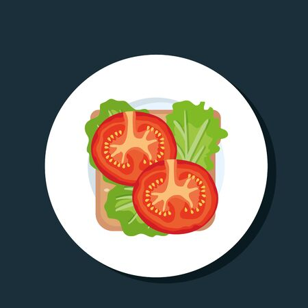 sandwich with fresh ham and tomato with lettuce to healthy food vector illustration