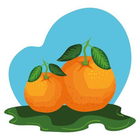 fresh orange fruit nature icon vector illustration design Ilustração
