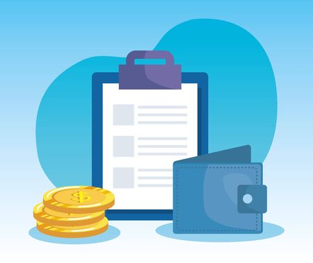document report with coins cash money and wallet over blue background, vector illustration Çizim