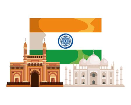 indian flag country with palaces buildings vector illustration design