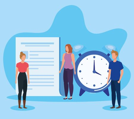 women and man teamwork with document information and clock over blue background, vector illustration Çizim