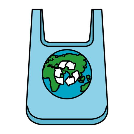 plastic bag with earth planet and recycle arrows vector illustration design