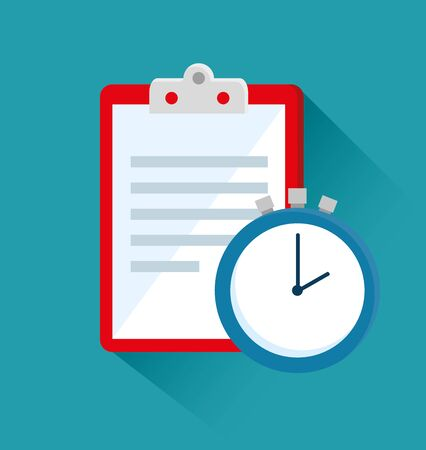 check list with clock to sport activity over blue background, vector illustration Ilustracja
