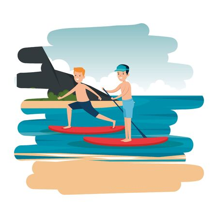 happy athletic boys practicing surf in the sea vector illustration design