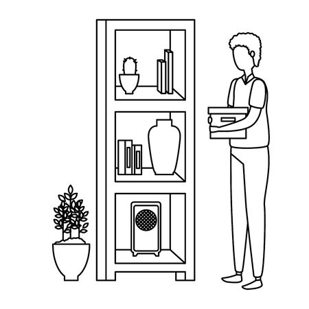 man in house place with shelving scene vector illustration design