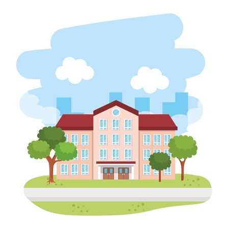 school building in the landscape vector illustration design