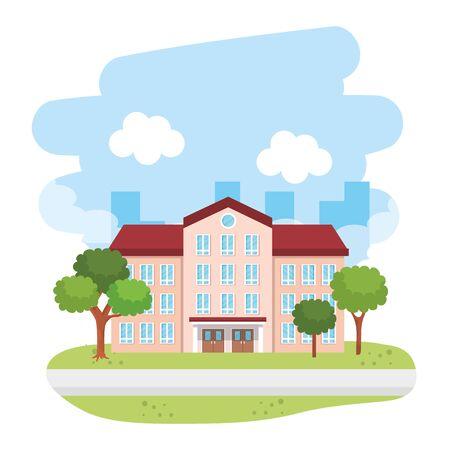 school building in the landscape vector illustration design