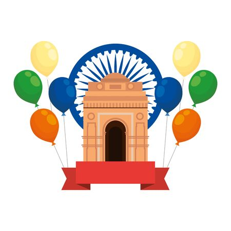 ashoka chakra with indian gate and balloons helium vector illustration design Ilustrace