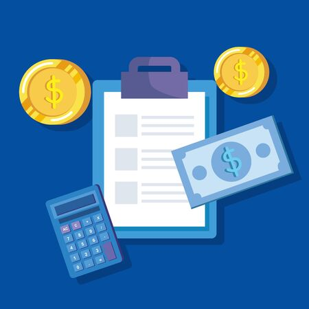 documents report with coins and bill money and calculator over blue background, vector illustration