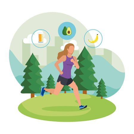 donna atletica che corre nel paesaggio con icone sane illustrazione vettoriale Vettoriali