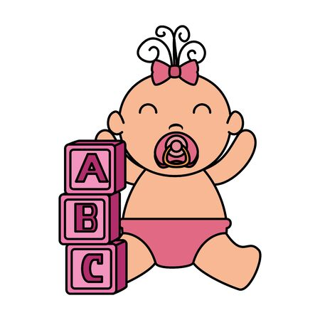 alphabet blocks toys with baby girl vector illustration design