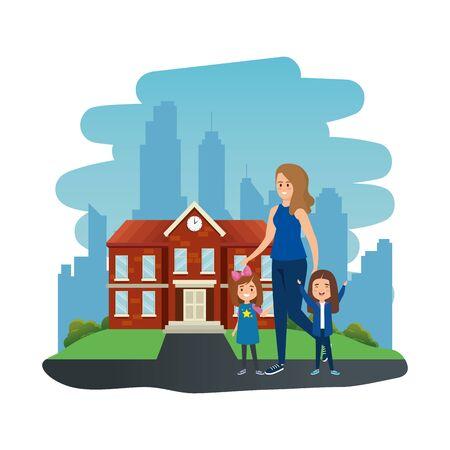 happy students girls with female teacher in school outdoor vector illustration