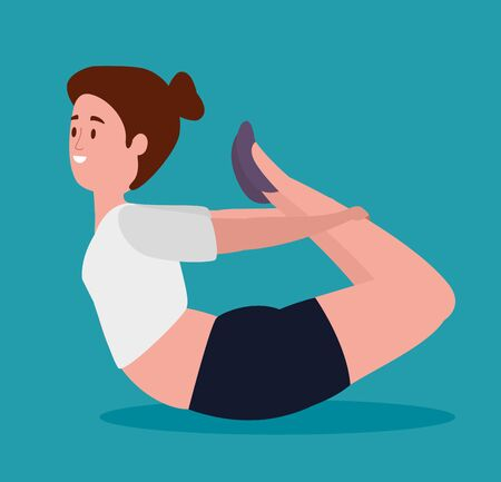 woman training yoga pose exercise over blue background, vector illustration