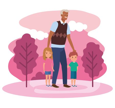 grandfather with his cute girl and boy children in the landscape, vector illustration  イラスト・ベクター素材