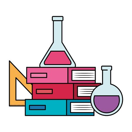 pile textbooks with rule and tube test vector illustration design