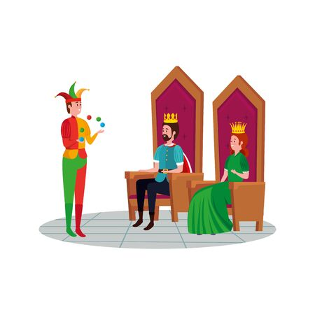 kings sitting with joker of fairytale vector illustration design