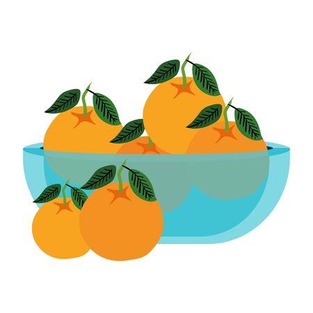 fresh oranges fruits in glass bowl vector illustration design