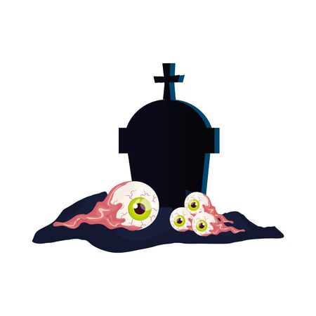 yeux effrayants d'halloween avec tombeau vector illustration design