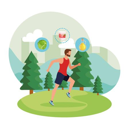 athletic man running in the landscape with healthy food vector illustration design