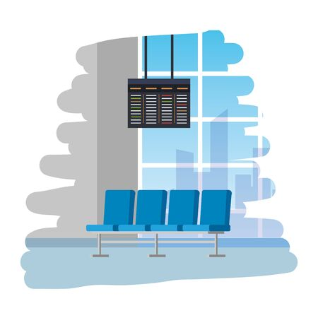 airport waiting room place with chairs and monitor vector illustration design