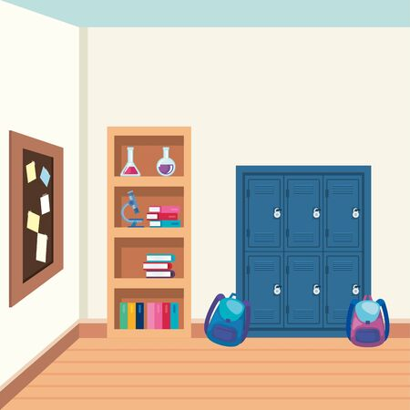 school shelving wooden with supplies in the classroom vector illustration design